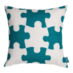 """PaperBoy Interiors """"It's a Puzzle"""" Cushion, Blue and White"""