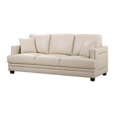Good Meridian Furniture   Ferrara Beige Leather Sofa   Sofas