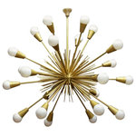 Unknown - Vintage Mid-Century Modern Brass Sputnik Chandelier - This Mid-Century Modern Sputnik chandelier is in good condition and is made out of solid brass features 24 arms. This lighting fixture has a sleek modern design, is wired to US standards, and is in working condition. This chandelier is sturdy, eye-catching, and ready to be used in any room for years to come.