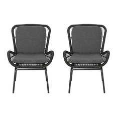 Alice Outdoor Wicker Club Chair With Cushions, Set of 2, Gray