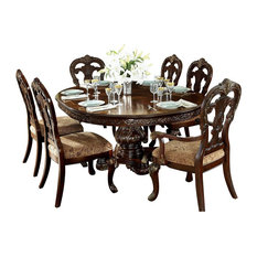 HEFX Furniture   7 Piece Debroux Dining Set Round/Oval Table, 2 Arm