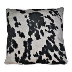 "Cowhide Faux Fur Black White Decorative Throw Pillow, 24""x24"""