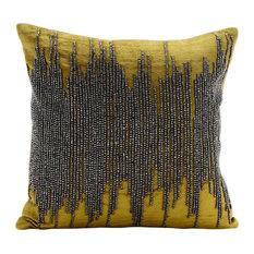 """Chartreuse Green Western Throw Pillows Velvet 20""""x20"""", Chartreuse Spill"""