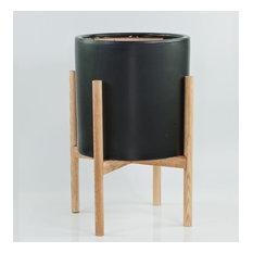 Extra Large Ceramic Cylinder Pot 13'' Black With Plant Stand Set Natural Color