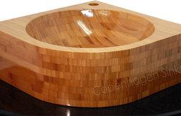 17 x 17in Natural Corner Mount Bathroom Vanity Sink Solid Natural Bamboo