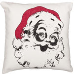 "VHC Brands - Emmie Vintage Santa 18""x18"" Pillow - The 18x18 Emmie Vintage Santa Pillow showcases a head shot of a happy Kris Kringle in distressed black stenciling. 100% cotton shell with polyester fill."