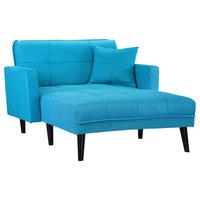 Modern Linen Fabric Recliner Sleeper Chaise Lounge, Futon Sleeper Single Seater