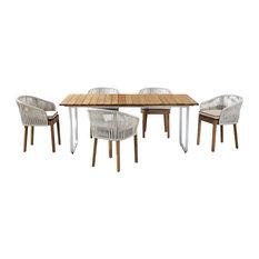 Yukon Outdoor Dining Set With Dakota Chairs, Stone White