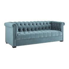 Sea Blue Heritage Performance Velvet Sofa
