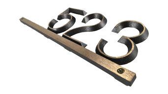"MODERN ADDRESS PLAQUE Hammered Black/Solid Brass 16 1/2"" X3/4"" X 5 1/2"""