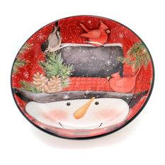 Tabletop Winter's Plaid Soup/Pasta Bowl Snowman Cardinal Christmas 32207 Snowman