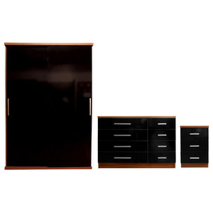Torino Plain Furniture Set, Black and Walnut