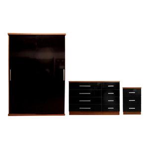 Torino Plain Furniture Set, Black and Walnut