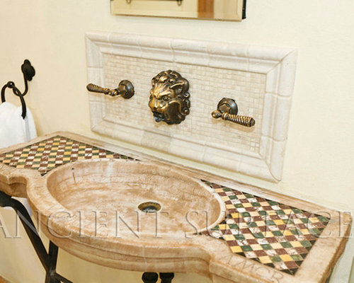 Antique Reclaimed Inlayed Marble And Stone Sink For Master Bathrooms And  Powder   Bathroom Sinks