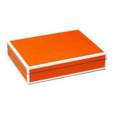 Lacquer Long Stationery Box Box, Orange and White