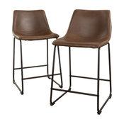 GDF Studio Central Vintage Brown Bar Stools, Set of 2