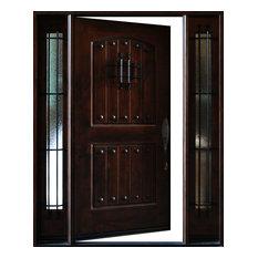 """Knotty Alder Exterio Front Entry Door 1D+2SL 12""""-36""""x80""""- Left Hand Swing In"""