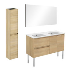 Ambra 120F Double Complete Vanity Unit With Column and Mirror, Nordic Oak