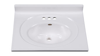 "Imperial Bathroom Vanity Top, Recessed Center 6.5"" Oval Bowl, Solid White Gloss"