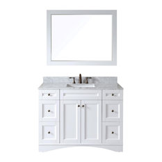 "Virtu Elise 48"" Single Bathroom Vanity, White With Marble Top, With Mirror"