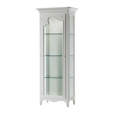 White Wooden Cabinet With 1 Glass Door, Opening on Right