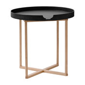 Damien Round Side Table, Black/Oak, Round