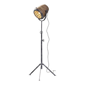 Floor Lamp, Iron, Wood, Cap XL