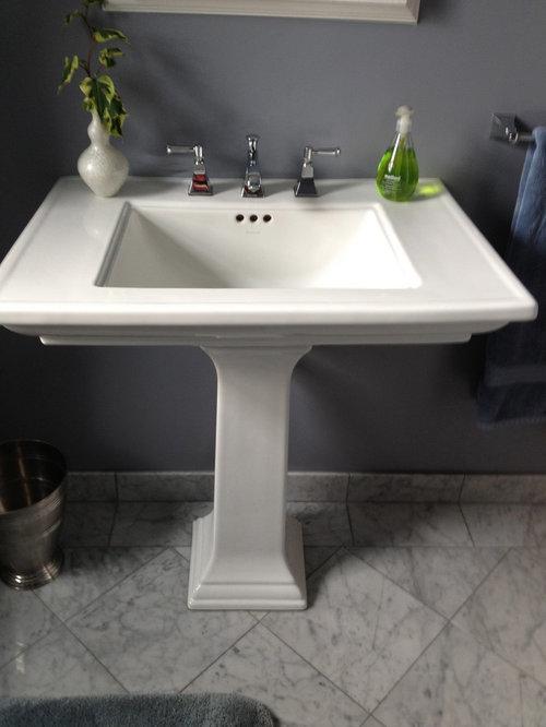 New Bathroom Vanity And Tile Vs Pedestal Sink Wainscoting