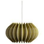 Ciara O'Neill - Spine Large Pendant Light, Olive - The olive-coloured Spine Large Pendant Light emulates the geometric patterns found in sea urchin shells. Tight radial curves impose their structure on pleated segments which dictate the shape of the silhouette. This material of this pendant lamp gently diffuses light while also radiating light more intensely where the surface material splits apart. Using bespoke components and artisan production techniques, this pendant light is skillfully handcrafted and produced in Ciara O'Neill's East London studio. Please note the long lead time is due to the fact that this product is handcrafted and made to order. This allows us to ensure that you receive a high-quality, personalised product.