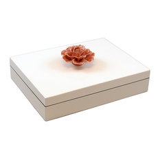 Lacquer Long Stationery Box, Mauve Rose Handle White Box