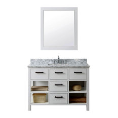 "48"" Solid Wood Sink Vanity With Carrera White Marble Top"
