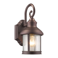 """Galahad 1-Light Rubbed Bronze Outdoor Wall Sconce 12"""" High"""