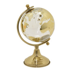 """Glass Globe With Metal Base 6"""", Gold, 11"""""""