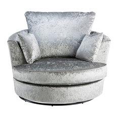 Zinc Velvet Modern Swivel Chair, Silver