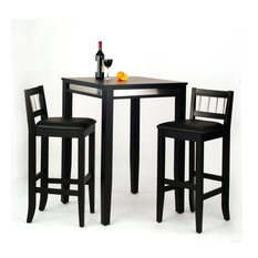 home styles manhattan pub table and 2 stools set black indoor pub and - Bistro Table Sets