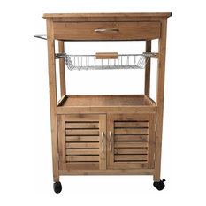 Modern Trolley Cart, Natural Bamboo Wood With Cabinet and Metal Baskets