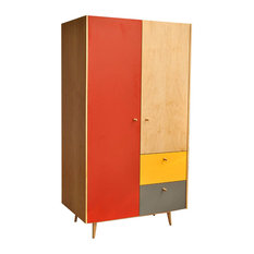 Modern Armoire Maple And Color Blocks Red   Armoires And Wardrobes