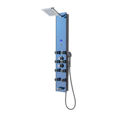 "Luxier Aluminum and Tempered-Glass Shower System, 56"", Aqua Blue"