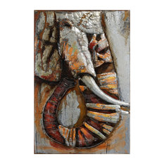 """Elephant"" Mixed Media Iron Hand Painted 3D Mteal Wall Art"