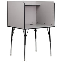 OffexStudy Carrel with Adjustable Legs and Top Shelf in Nebula Gray Finish