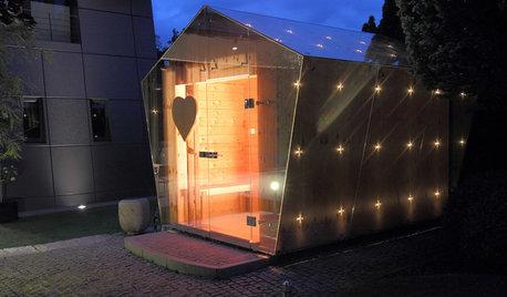 Houzz Германия: Зеркала и светодиоды... для необычной сауны в Нюрнберге