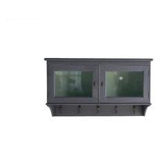 Painted Wooden Kitchen Cabinet With Doors, Dark Grey