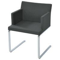 Soho Flat Armchair, Chrome Plated Solid Steel Base, Dark Gray Camira Wool