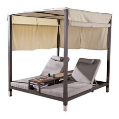 Amber Modern Outdoor Double Daybed With Canopy