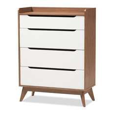 Wholesale Interior - Mid-Century Modern White and Walnut Wood 4-Drawer Storage Chest  sc 1 st  Houzz & Shallow Dressers | Houzz