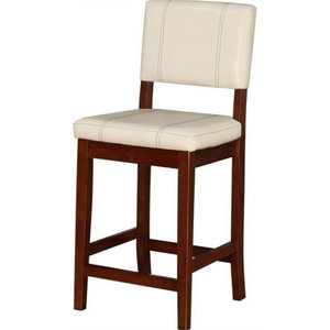 "Atlin Designs 24"" Faux Leather Counter Stool, Walnut and Cream"