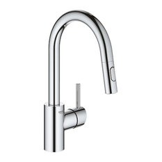 Grohe Concetto Single Hole Pullout Swivel Kitchen Faucet, Chrome