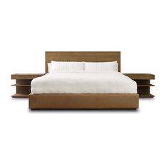 Brownstone Laguna Teak and Leather Modern Bed, California King