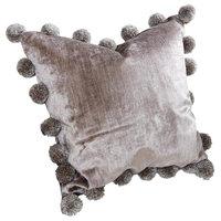 Silver Gray Velvet Pom Pom Throw Pillow, Plush Accent Soft Ball Midcentury