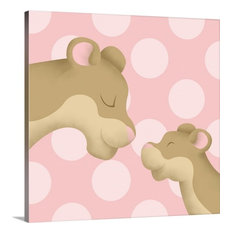 """""""Lion Mommy and Baby on Pink"""" Canvas Art, 20""""x20""""x1.25"""""""